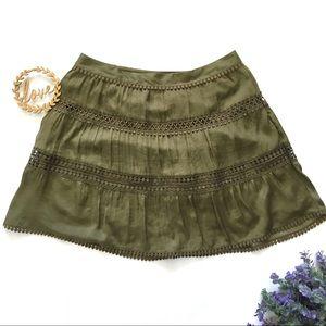 EUC White House Black Market Olive Green Skirt